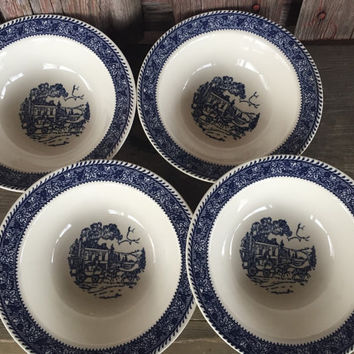 """4 vintage Homer Laughlin Shakespeare Country Blue leaves 7"""" cereal bowls stratwood collection, Mid Century blue and white transferware bowl"""