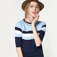 Fashion Spring Women Knit Stripes Printed Slim a13311