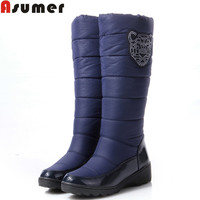ASUMER 2016 Cotton fashion waterproof snow boots women's knee high boots flat winter boots platform fur shoes women size 34-44