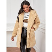 Lapel Collar Dual Pockets Teddy Coat
