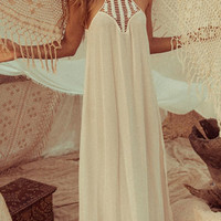 White Crochet Lace Chiffon Maxi Dress
