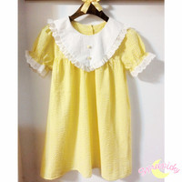 Cream Yellow Grids Short Sleeve Lace Collar Top SP141039