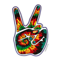 Tie Dye Peace Hand Window Sticker on Sale for $3.99 at HippieShop.com