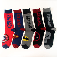 Altman Superman Batman Captain America skull classic superhero man socks