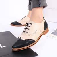 British Style Brogue Shoes Women's Shoes Flat Thick Heel Vintage Pointed Toe Lacing Women's Oxfords Pig Leather Lining