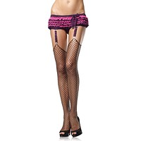 Plus Size Lycra Industrial Fishnet Stockings With Unfinished Top