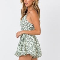 Boho Leaf Print Casual Rompers Women  Sleeveless Playsuits Sexy V Neck Jumpsuits Elegant Party Beach Rompers