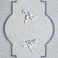 Dragonfly Clear CZ/Cubic Zirconia Silver Post Stud Earring - 92.5 Sterling Silver Earrings - Gift under 5 - Gif for her