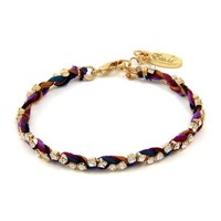 Colorful Gold Friendship Bracelet in Wild Berry