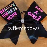 Believe There is Hope Breast Cancer Awareness Cheer Bow