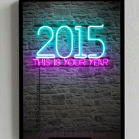 2015, Happy New Year, Poster, Neon, Sign, Positive, Light, Decorative, Room Decor, Screensaver, Background, Wall