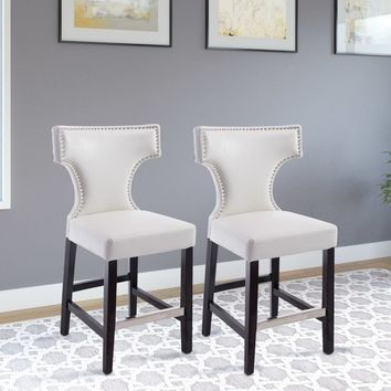 Kings Counter Height Barstool w/ Studded Bonded Leather Seat - (Set of 2) - Corliving