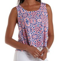 Pink Combo Floral Print Flyaway Tank Top by Charlotte Russe