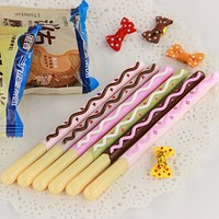 3PCS Korean Cute Kawaii Chocolate Cake Gel Pen Set for Writing Office School Supplies Stationery for Kids Student Gift