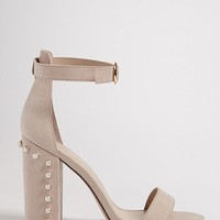 Faux Suede and Faux Pearl Heels