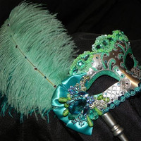 Venetian Masquerade Mask in Aqua, Mint and Silver - Made to Order