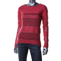 Oh MG! Womens Juniors Crochet Hi-Low Pullover Sweater