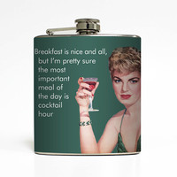 Women Alcohol Flask Cocktail Hour Liquid Courage Ephemera Martini Glass Adult Birthday Gift Stainless Steel 6 oz Liquor Hip Flask LC-1449
