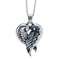 Sterling Silver, Angel Wings, Heart Pendant Necklace