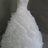 Ball gown Sweetheart Strapless Chapel Train Organza Tiered Wedding Dress