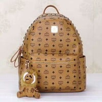 Hot MCM Print Women's Leather Backpack Bag Large Capacity Bag