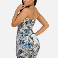 Blue Strapless Dress with Lace Back