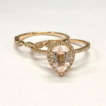 Diamond Wedding Ring Set!Morganite Engagement Ring 14K Rose Gold,6x8mm Pear Morganite,Art Deco Antique,Claw Prongs,Stackable Matching Band