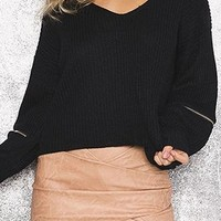 Layer By Layer Black Long Sleeve Loose Zipper Elbow V Neck Detachable Choker Pullover Sweater