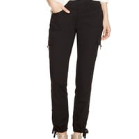 White House | Black Market Convertible Ankle to Crop Black Cargo Pants