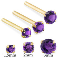 14K Real Gold (Nickel free) Long Customizable nose stud with Round Amethyst