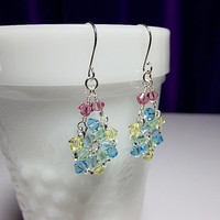 Blue Yellow Pink Green Purple Crystal Chandelier Earrings, Christmas Gift, Mom Sister Grandmother Girlfriend Bridesmaid Jewelry Gift, Classy