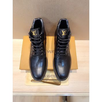 lv louis vuitton trending womens men leather side zip lace up ankle boots shoes high boots 205