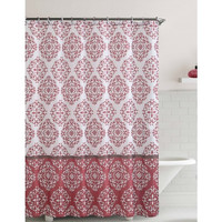 "Shower Curtain- Ashur Red Embossed Microfiber- 72""X 72"""
