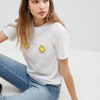Pull&Bear Smiley Face Tee at asos.com
