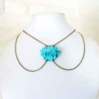 Collar Necklace, Peter Pan Collar Necklace in Antique Bronze Chain with Aqua Blue Rose Vintage Style chain