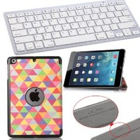 Pandamimi ULAK(TM) Bluetooth Keyboard+PU Leather Case Cover with Auto Sleep/wake Function for Apple iPad Mini 7.9 inch & iPad Mini with retina and Screen Protector -Keyboard can NOT be stored in the case (In love with)