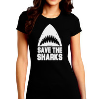 Save The Sharks Juniors Crew Dark T-Shirt