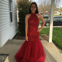 Red Mermaid Prom Dresses 2016 Sexy Beaded With Backless Fashion High Neck Long Evening Party Prom Dress Hot Sale EV8