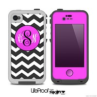 The Black & White Chevron Pattern with Pink Monogram Skin for the iPhone 4-4s LifeProof Case