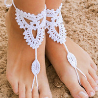 White Cut-Out Crochet Toe Ring Barefoot Sandals