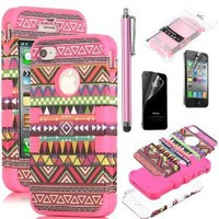 Pandamimi ULAK 3in1 Hybrid High Impact Hard Aztec Tribal Pattern + Pink Silicone Case Cover For iphone 4 4S +Screen Protector+Stylus