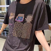 FENDI New Women Men Casual Diamond Pattern Short Sleeve T-Shirt Top