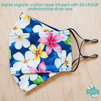 Antimicrobial 3D Face Mask + Adjustable Loops ~ Blue Plumeria Shower