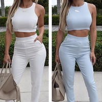 Sleeveless Cropped Top and Pants Set with Pocket