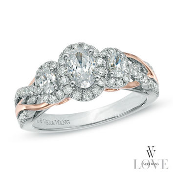 Vera Wang LOVE Collection 1 CT. T.W. Oval Diamond Three Stone Engagement Ring in 14K Two-Tone Gold