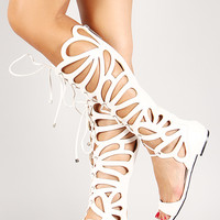 Breckelle Leatherette Lace Up Gladiator Flat Sandal