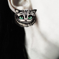 Gothic spooky earrings and ring 'Cheshire Cat' alice in wonderland disney tim burton