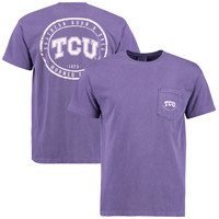 TCU Horned Frogs Circle Silhouette Comfort Colors Pocket T-Shirt
