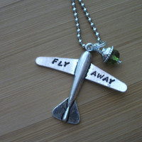 Airplane Necklace - Fly Away - Travel - Custom hand stamped plane