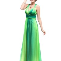 Ever Pretty Sexy V-neck Cross Back Rhinestones Shade Long Evening Dress 09735, HE09735GR14, Green, US12